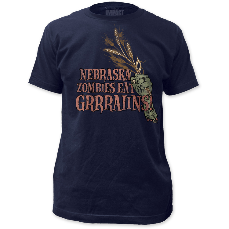 Nebraska Zombies Eat Grains Fitted Men's Navy Blue Shirt
