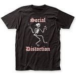 Drastic Plastic Exclusive Social Distortion Skelly Logo Men's Soft 30/1 Cotton Tee  Black