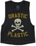 Drastic Plastic Vintage Gold Skull and Bones Muscle Crop Tee (Women's)