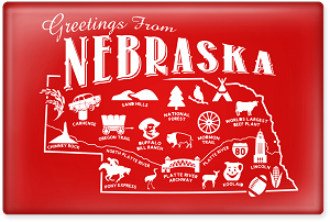 "Greetings From Nebraska Postcard 2.5"" Rectangle Magnet"