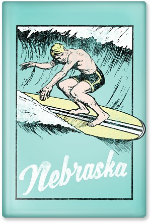"Surfin' Nebraska 2.5"" Rectangle Magnet"