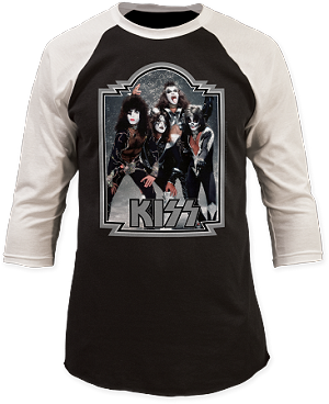Kiss Glitter 1976 '76 Baseball Jersey 3/4 Sleeve Print Men's Slim Cotton Shirt