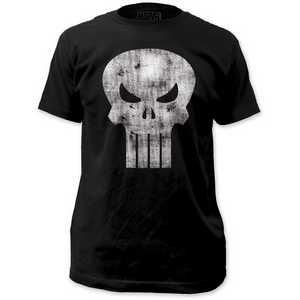 The Punisher White Logo - Distressed Fitted Jersey Tee