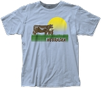 Retro Sunset Cows Nebraska Tee - Blue (Unisex)