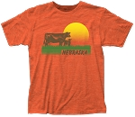 Retro Sunset Cows Nebraska Tee - Orange (Unisex)