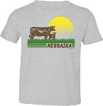 Retro Sunset Cows Nebraska Tee (Youth)
